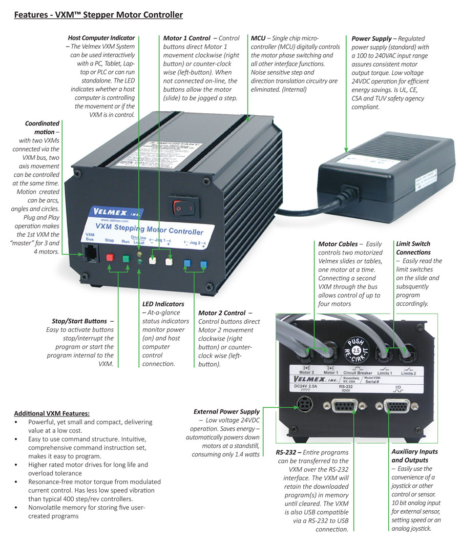 velmex motor controllers vxm velmex vxm systems enable the step motor to operate more efficiently by utilizing pulse width modulation current control an automatic motor power down
