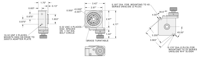 A5990 Rotary Table Dimensions