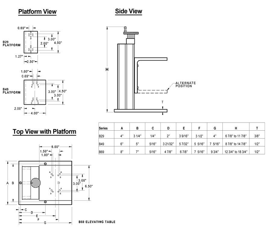 Manual Elevating Table Dimensions
