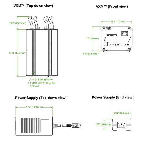 Dimensions of VXM Controller
